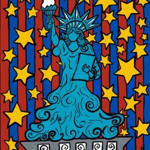 Lady Liberty Stars & Stripes Print