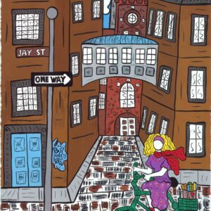 Biking on Jay Street Print